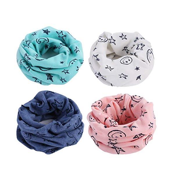 Richaa 4 piezas Infinity Scarves para niños, Winter Kids Boys Girls Algodón Multiuso Cuello Calentador Bufanda Sombrero… 1