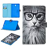 Keteen Cover Galaxy Tab S 8.4, Custodia Samsung T700 Tablet Case, Colorato Dipinto Automatic Sleep Function Tab S 8.4 Silicone TPU Bumper PU Leather Custodia per Samsung Galaxy Tab S 8.4 - Gatto