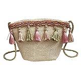 Umhängetasche,Sannysis Vintage Frauen Mädchen Weben Quaste Umhängetasche Messenger Bag Strandtasche Crossbody Handytasche (Khaki)