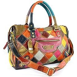 EZOLY Multicolor Patchwork en cuir véritable sac à main épaule Sac bandoulière sac sac hobo