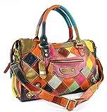 EZOLY Multicolor Patchwork en cuir véritable sac à main épaule Sac bandoulière...