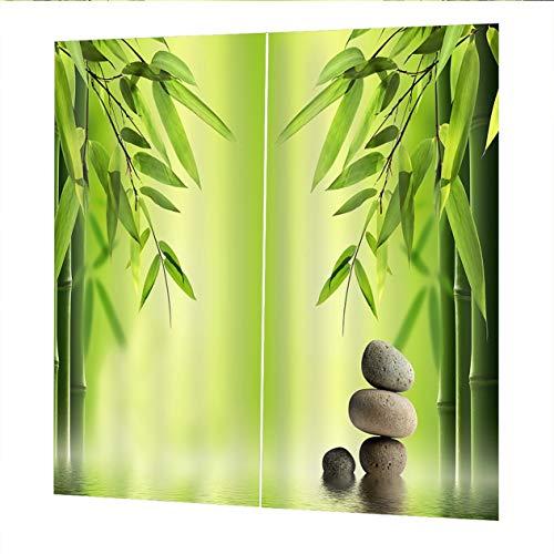 EdBerk74 150 * 166 cortinas para sala de Estar Dormitorio Cortinas Bambú Verde Impreso Balcón Sombreado Estilo de jardín Color