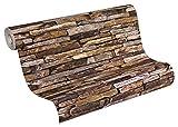 A.S. Création papel pintado Wood'n Stone beige marrón amarillo 10,05 m x 0,53 m 914217