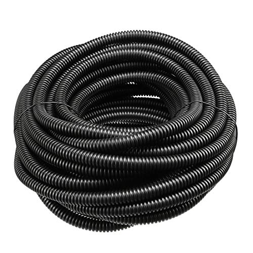 ZCHXD Corrugated Tube Conduit PP Polyethylene Tubing Flexible Pipe Hose Black 7.5mm Inner Dia 10.5mm Outer Dia. 12.5M Long - Corrugated Polyethylene Pipe