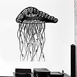 yaoxingfu Nouveautés Décalcomanie Amovible Gelée Poisson Océan Marin Autocollant Intérieur Ornement Cool Mural Vinyle Décalques Salon Chambre L Blanc 84x104cm