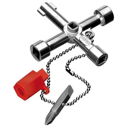 KNIPEX 00 11 03 Schaltschrank-Schlüssel für gängige Schränke und Absperrsysteme 76 mm