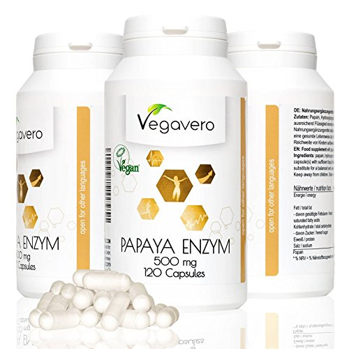 Papaya Enzym | 500 mg Papain | 120 hochdosierte Kapseln | Immunsystem - Stoffwechsel - Verdauung | 40-Tage-Kur | vegan | Vegavero: from Nature - with Passion - for You!
