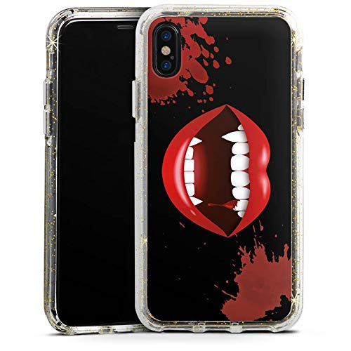 DeinDesign Apple iPhone XS Bumper Hülle Gold transparent Bumper Case Schutzhülle Glitzer Look Vampir Halloween Lippen