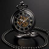 AMPM24 Steampunk Skeleton Mechanical Copper Fob Retro Pendant Pocket Watch + AMPM24 Gift Box WPK164 Bild 6