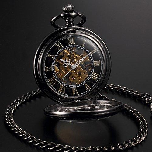 AMPM24 WPK164-Orologio da tasca uomo,Rame,Steampunk,Numeri Romani Analogico Meccanico Manuale,colore:Nero