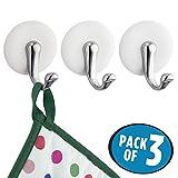 mDesign Handtuchhaken selbstklebend - 3er-Set - Handtuchhalter ohne Bohren am Schrank befestigen - selbstklebender Haken für Ihr Zuhause - perfekt für Handtücher, Schlüssel & Co.