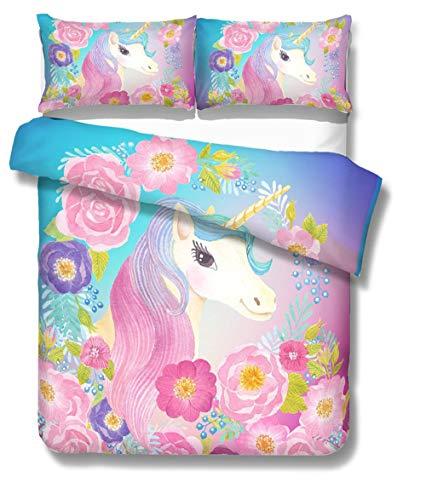 Prula Cooper Mädchen Einhorn Bettwäsche-Set lila pink blau Bettwäsche-Set Twin Mädchen Bedruckt modern leicht Kinderbettwäsche Set für Jugendliche Twin U06