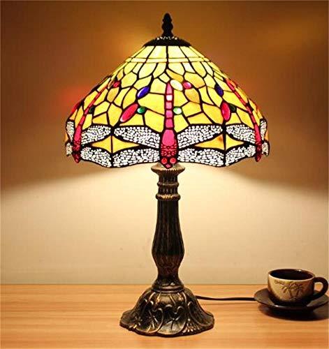 SOHOH Einfache amerikanische Glasmalerei Tischlampe Dekoration, Schlafzimmer Nacht warme Farbe Lichtquelle Lampe, Arbeitszimmer, Kinderzimmer, niedliche Nachtlicht ohne Lichtquelle