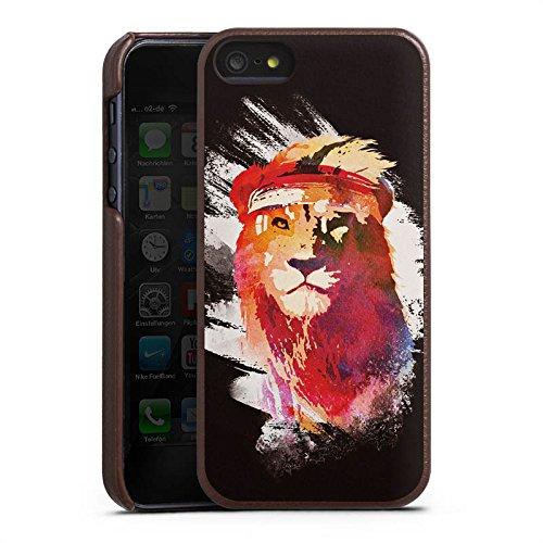 Apple iPhone 6 Lederhülle Leder Case mit Schlitz für Kreditkarte Brieftaschen Cover Löwe Lion Street Art Leder Case braun