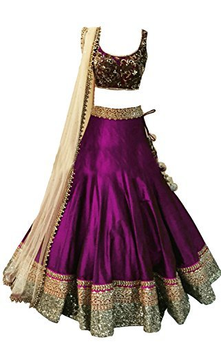 Clickedia Kids Heavy Bhagalpuri Silk Embroidered Purple Lehenga with matching blouse pc - traditional wear ( 8-11 yrs)- Semi-Stitched alterable