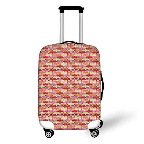 Travel Luggage Cover Suitcase Protector,Retro,Color Bands Round Edged Shapes in Horizontal Direction Vivid Colored Pattern,Scarlet Pink Yellow,for Travel -