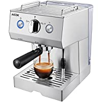 Aicok Espressomaschine, Cappuccino Maschine, Espressomaschine Elektrisch, Milchaufschäumdüse, 15bar Edelstahlkörper, Silber
