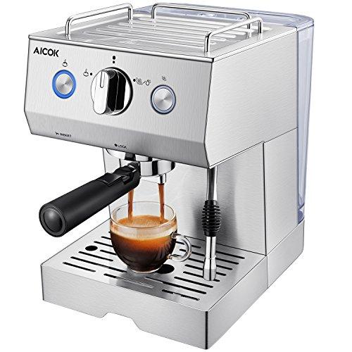 Aicok Espressomaschine, Cappuccino Maschine, Espressomaschine Elektrisch, Milchaufschäumdüse, 15bar Edelstahlkörper, Silber (Beste Espressomaschine)