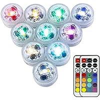 Mini RGB LED Luz Sumergible,OriFiil® Color Cambio Lámpara Impermeable Subacuática Acento Luz con Control Remoto IR Para Estanque,Acuario,Vaso,Tazones, Piscina, Acuario(10er Pack)