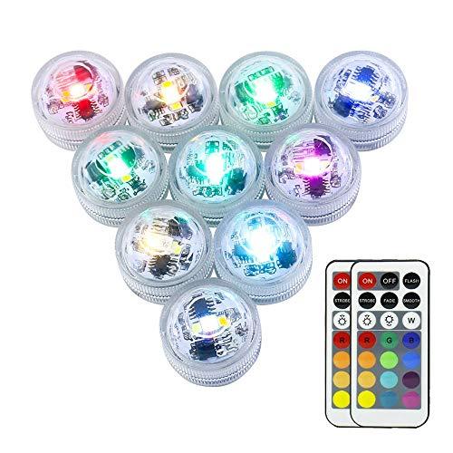 OriFiil 10 pcs Mini Unterwasser RGB Teelicht LED Kerzenlicht mit 2 Fernbedienung für Hochzeit/Geburtstagsfeier/ Festivalfeier/Vase/ Badewanne/Aquarium