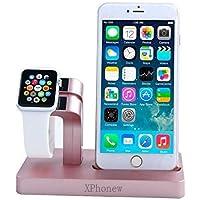 iPhone 7 Plus Cargador Dock, XPhonew 2 en 1 Apple Watch Stand iPhone Cargador Dock Station Holder Display Cradle para iPhone 7/7 Plus / 6S / 6S Más 6/6 Plus / 5S / 5 / SE iWatch 42mm y 38mm Todos los modelos