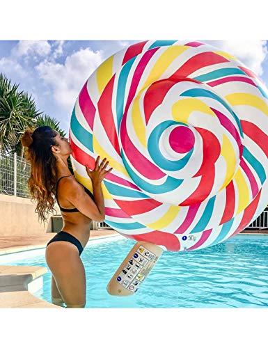 HGHFH Schwimmende Reihe Aufblasbare 259 cm Riesen Candy Pool Float Lolly Luftmatratze Liege Frauen Lollipop Schwimm Reihe Urlaub, (Dekorationen Riesen Lollipop)