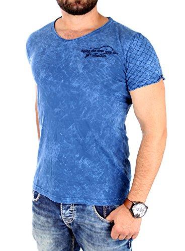 Tazzio T-Shirt Herren V-Neck Vintage Look Stiched Kurzarm Shirt TZ-16153 Blau