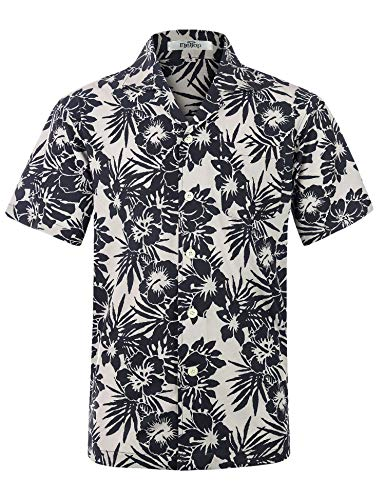 Herren Hawaii Hemd Kurzarm Flamingos Aloha Party Shirt Palm Beach Shirts Schwaz Blumen Print EHS025-XL - Männer Blumen-shirt Für