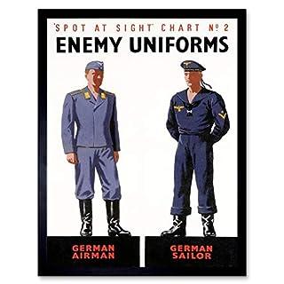 Wee Blue Coo LTD Propaganda War Wwii Allies Enemy Uniform German Airman Sailor Art Print Framed Poster Wall Decor Kunstdruck Poster Wand-Dekor-12X16 Zoll