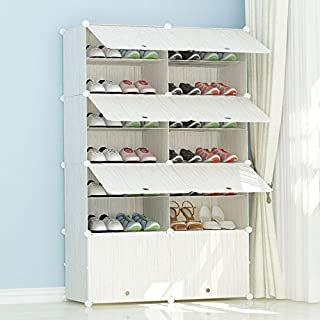 PREMAG Organisateur de Chaussures Portable en Plastique, Motif en Bois, étagère modulaire pour économiser de l'espace, étagères à Chaussures pour Chaussures, Bottes, Pantoufles 2 * 7