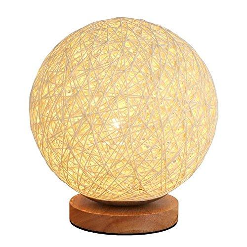 AOKARLIA Nachttischlampe Kreative Mode Eine Kleine Dekorative Nachtlicht Kreativ Rattankugel Tischleuchte LäNdlichen Schlafzimmer Modern Dekoration Geschenk E27, White
