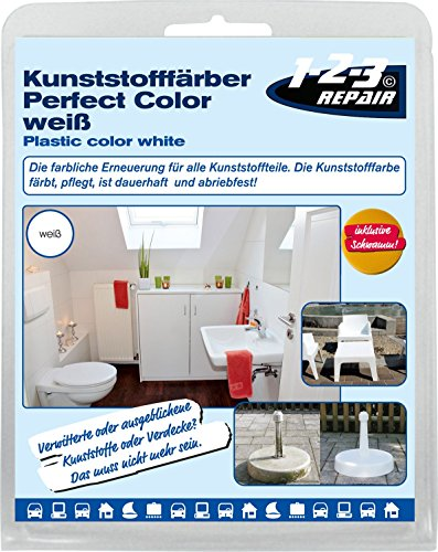 123repair Perfect-Color Kunststoff Aufbereitung I Kunststofffarbe weiß - Polyrattan Gartenmöbel Camping PVC (Camping Gartenmöbel)