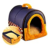 ACTNOW 2-in-Schlafhöhle/Schlafiglu + Transportbox für Hund/Katze, tragbar, rutschfest, Warm