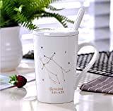 Zhouteapot Tazza Mug Ceramica Mugoriginal Coffee Mug 12 Constellations Tazza da caffè in Porcellana Nera e Bianca con Coperchio Cucchiaio da Cucina Nordic 380Ml