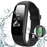 OCEVEN Fitness Armband mit Herzfrequenz,Fitness Tracker Pulsuhr Aktivitätstracker mit Schlafüberwachung,IP67 Wasserdichte Bluetooth Fitness Uhr mit GPS Schrittzähler Kalorienzähler für Android und iOS(Schwarz)