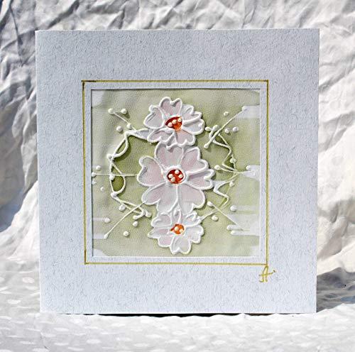 Verkauf!!!20% reduziert,Ursprüngliche Karte des weißen Gänseblümchens, Gänseblümchen-Geburtstagskarte, Karte der Mutter Tages, handgemalte Gänseblümchen-Silk Karte, weiße Gänseblümchen (Verkauf Tag Mütter)