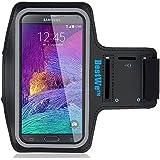 Bestwe Samsung Galaxy Note 4 Schwarz Neoprene Sports Jogging Armband Tasche Oberarmtasche Schutz Hülle Etui Case