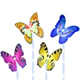 FHzytg 4 Stück Beleuchtung Außen Solarleuchte Garten,Solar Garten Lampen mit Farbwechsel Optik LED Schmetterling Solar Lichter, Außen Dekoration Lichter für Garten, Rasen, Terrasse, Feld, Weg