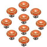 Creatwls 10PCS Porzellan / Keramik - Möbelgriff Türknauf Schrankgriff Schrankknopf Möbelknauf - Knauf & Griff Runder Klappschrank Möbel Knopf (Orange)