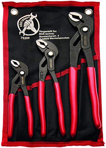 Kraftmann 75209 Pinces multiprises, Noir/rouge, Set de 3 Pièces