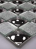 Bador Glasmosaik Mosaik Fliesen Mosaikfliesen Glasfliesen Glas Edelstahlkugeln Silber 30x30