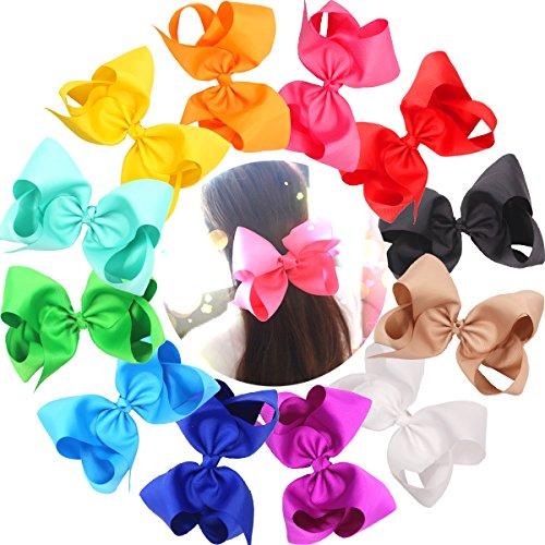 Cellot Boutique Haarschleifen, groß, 20cm, Ripsband, hochwertig, langlebig, Krokodilklemme aus Metall, kein Ausfransen oder Verrutschen, für Mädchen, Babys und Damen, bunt