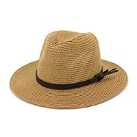W.S.-YUE Straw Hat Seaside Vacation Men And Women Couple Outdoor Sun Protection Sunhat Visor Jazz Hat (Color : Color 2, Size : 56-58cm/22-23in)