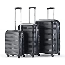 Travelz Big Bars TSA - Grande custodia rigida tripartito - Set di Valigie Trolleys polipropilene - Nero