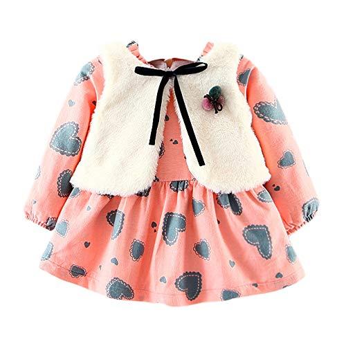 OverDose Damen 2018 Neugeborenen Baby Mädchen Cartoon Warme Prinzessin Liebhaber Print Kleid + Weste Outfits Kleidung Set(Rosa,24M)