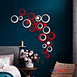 [Sponsored]BikriKendra - 3D Acrylic Wall Decor Stickers - For Drawing Room Living Room Bedroom Kids Room Home & Office Sticker - 24 Rings Red & White - B072Q3Y697- Factory Outlet - Premium Quality