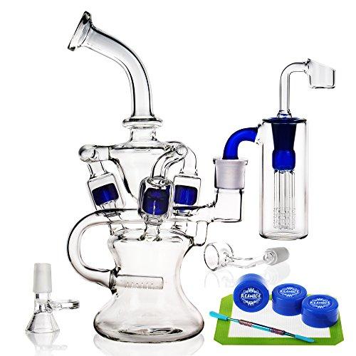 REANICE (OCEAN D) Recycler Glas Bongs glas wasser bong wasserpfeife zum beispiel 14.5mm bong schüssel höhe 25cm direkt glas rohre honigwabe zweig bongwasser bohrinseln pfeife großen bongs - glas mit zubehör in drei schichten filter blau
