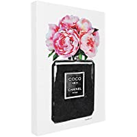 "Stupell Industries Glam Perfume Bottle Flower Black Peony Pink Oversized Stretched Canvas Wall Art, Proudly Made in USA, Multicolour, 24"" x 30"" preiswert"