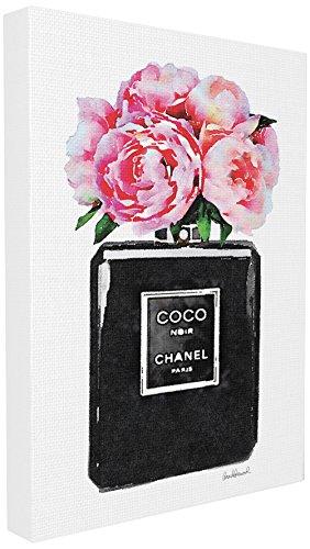 Blume, Giclee Canvas Art (Stupell Industries Glam Parfüm Flasche Blume Schwarz Peony Pink Oversized gedehnt Art Wand, Stolz Made in USA, Leinwand, Mehrfarbig, 60,96x 3,81x 76,2cm)