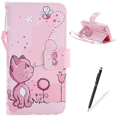 Feeltech iPhone 5/5S/SE Hülle PU-Leder und Brieftasche Bunte Muster Fall mit Magnetverschluss, Hybrid-Kickstand mit Stand-Funktion, schlagen Sie schützende weiche TPU Stoßstangenabdeckung und Kreditkartenhalter für iPhone 5/5S/SE Handgelenk Bügel-Buch-Art-Geldbeutel-Tasche mit 2 In 1 Berühren Sie Stift - Rosa Katze (Iphone 5 Tier-fällen)